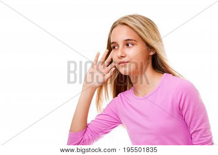 Picture of beautiful young girl listening gossip on white background