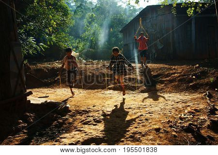 Asian Children Jump Rope
