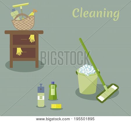 Tools for housekeeping: a green bucket with soapy foam, MOP with handle and cloth, bottles of detergent with covers, sprays and a yellow sponge, a squeegee, a table. Vector illustration. Cleaning