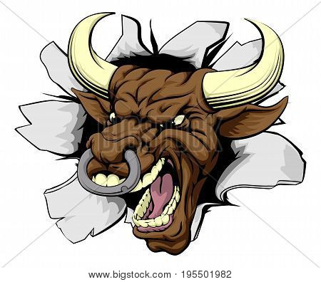 Mean bull breakout drawing of a tough angry bull character