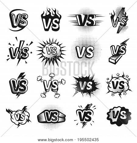 Versus icon sketch set. Opponents competition in sport or business challenge. Vector flat style illustration isolated on white background