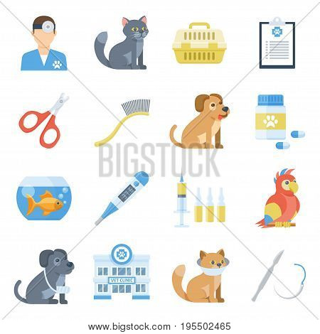 Veterinary medicine cartoon set. Diagnosis and treatment of disease in cute animals. Vector flat style illustration isolated on white background