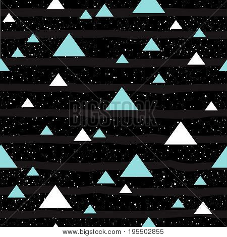 Soft Pastel Triangle Seamless Background. Grey, Pink And Blue Triangle.