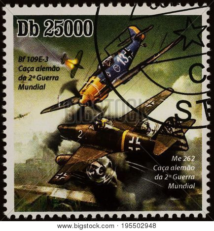 Moscow Russia - July 14 2017: A stamp printed in Sao Tome and Principe shows German military aircrafts Bf.109E-3 and Me.262 series