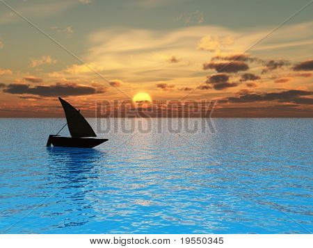 Small boat and  sunset  sky - 3d landscape scene .