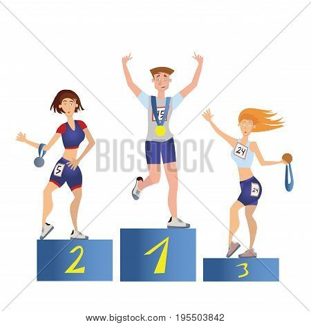 Athletes on the podium. Young man and women with medals. Sport competition. Vector illustration, isolated on white background.