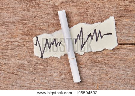 Tobacco cigarette, image of heart impulses. Smoking is harmful for heart and health.