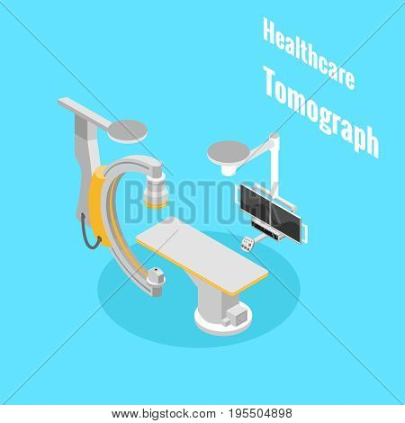 Healthcare medical equipment tomograph isometryc image vector