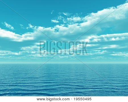 Beautiful sea and clouds sky - digital artwork