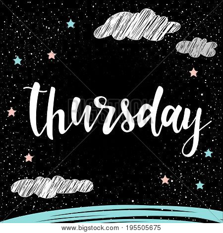 Thursday. Handwritten Lettering For Card, Invitation, T-shirt