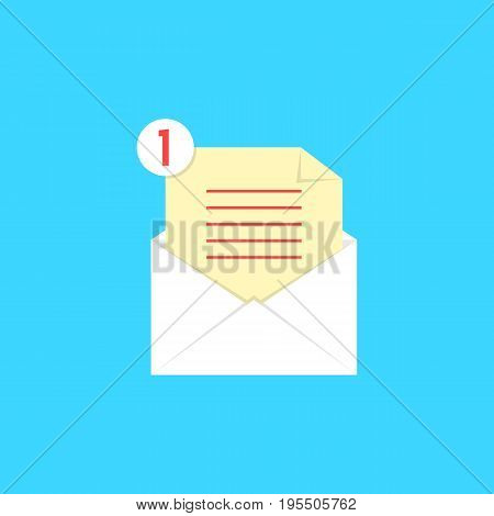 white open envelope with check list and notice. concept of newsletter, notify, support, counter incoming, confirm. isolated on blue background. flat style trend modern logo design vector illustration
