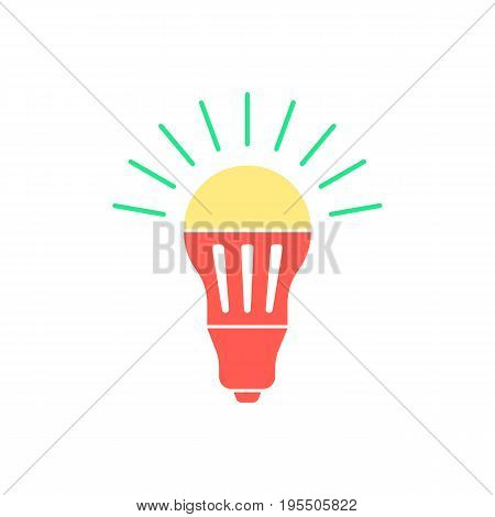 colored led bulb with green light flash. concept of halogen, invention, luminosity, illuminate, energy conservation. isolated on white background. flat style trend logo design vector illustration