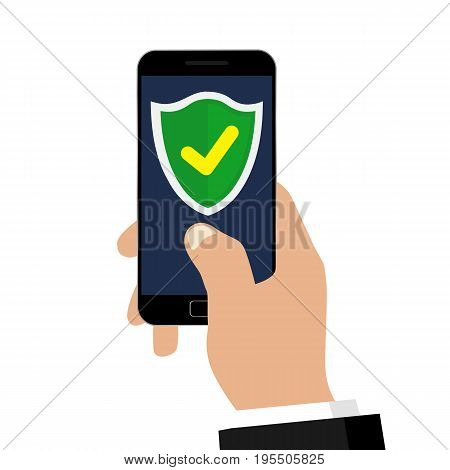 Mobile security app on smartphone isolated on white background. Vector illustration. Flat design.