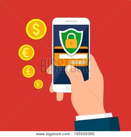 Hand holding smartphone. Secure mobile transaction. Mobile security. Security payment, payment protection concepts. Vector illustration.