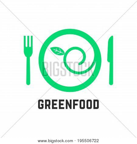 green food logo with tablewares. concept of ecology, gastronomy, vegan cuisine, salad, healthcare, vegetarianism. isolated on white background. flat style trend modern brand design vector illustration