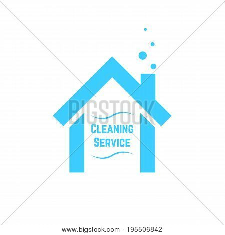 cleaning service icon with blue house. concept of visual identity, housekeeper, housekeeping emblem, cleanup. isolated on white background. flat style trend modern brand design vector illustration