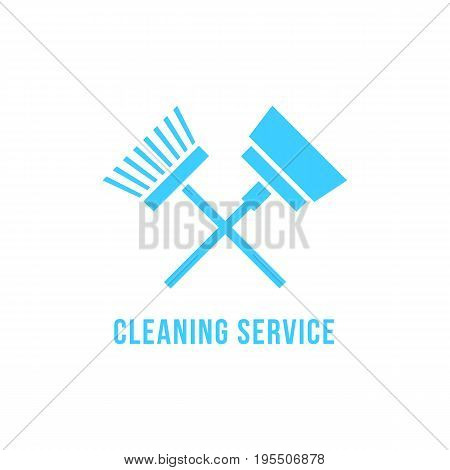 cleaning service icon with vacuum cleaner and brush. concept of housekeeper, housekeeping emblem, cleanup. isolated on white background. flat style trend modern brand design vector illustration