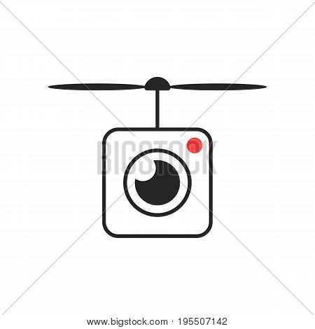 drone icon with camera lens. concept of smart hobbie toy, action camera, drone shoot, snapshot, videography. isolated on white background. flat style trend modern logotype design vector illustration