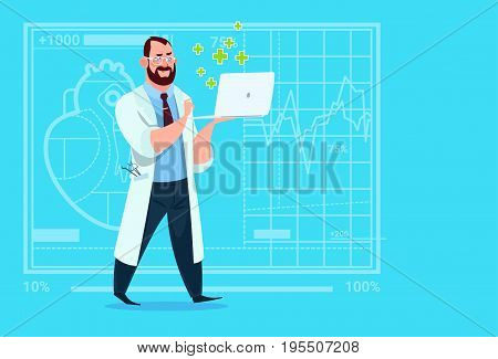 Doctor Hold Laptop Computer Online Consultation Medical Clinics Worker Hospital Flat Vector Illustration