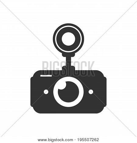 black car dvr simple icon. concept of digital video recorder, accident prevention, recording apparat, cctv monitor isolated on white background. flat style trend modern logo design vector illustration