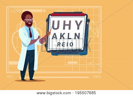 African American Doctor Ophthalmologist With Vision Test Medical Oculist Clinics Worker Hospital Flat Vector Illustration