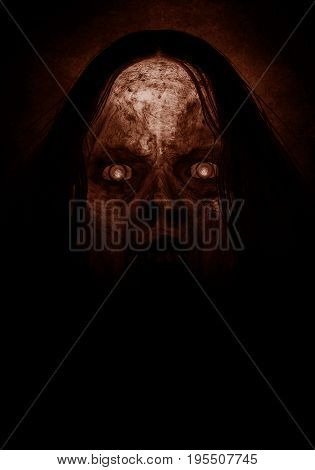 3d illustration of scary ghost woman in the dark ,Movie poster,wallpaper or book cover ideas