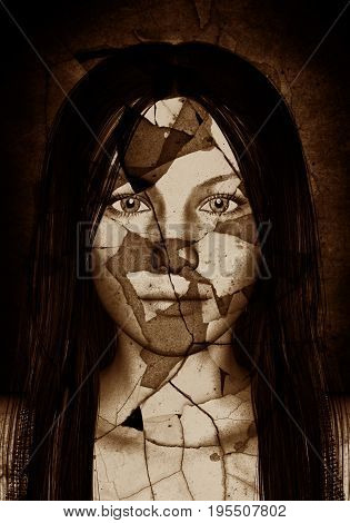 3d illustration of scary ghost woman in cracked wall