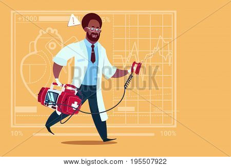 African American Doctor Running With Defibrillator Medical Clinics Worker Reanimation Hospital Flat Vector Illustration