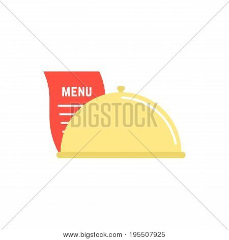 dish icon with menu sheet. concept of maintenance catering, servant, diner, celebration, serving, food delivery. isolated on white background. flat style trend modern logo design vector illustration