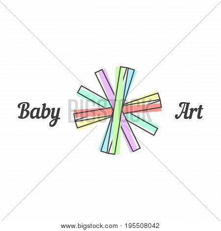 baby art sign with line paper strips. concept of placard, children study swirl emblem, early childhood education. isolated on green background. flat style trend modern brand design vector illustration