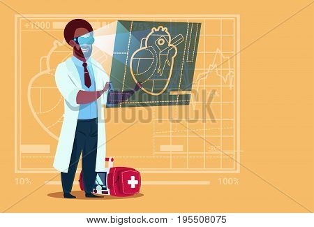 African American Doctor Cardiologist Examining Digital Heart Wear Virtual Reality Glasses Medical Clinics Worker Hospital Flat Vector Illustration
