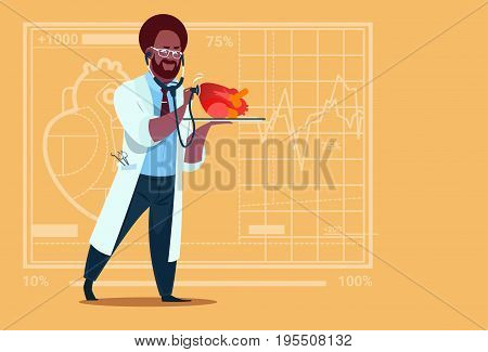 African American Doctor Cardiologist Examining Heart With Stethoscope Medical Clinics Worker Hospital Flat Vector Illustration