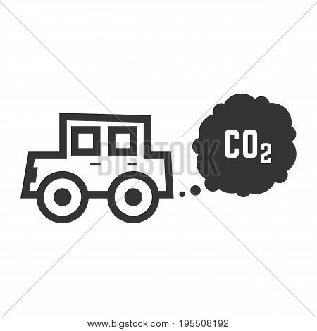 black outline car emits carbon dioxide. concept of smog pollutant, damage, contamination, garbage, combustion products. isolated on white background. flat style trend modern design vector illustration
