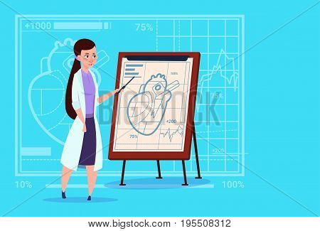 Female Doctor Cardiologist Over Flip Chart With Heart Medical Clinics Worker Hospital Flat Vector Illustration