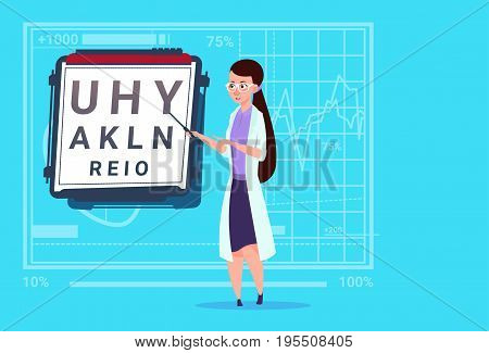 Female Doctor Ophthalmologist With Vision Test Medical Oculist Clinics Worker Hospital Flat Vector Illustration