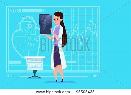 Female Doctor Examining Xray Medical Clinics Worker Hospital Surgery Flat Vector Illustration