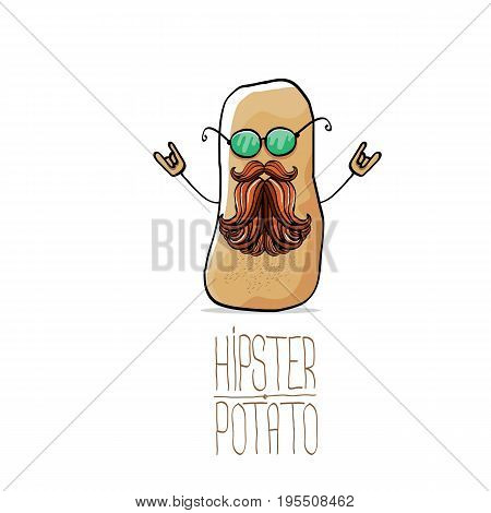 vector funny cartoon cute brown hipster potato isolated on white background. My name is potato vector concept. vegetable funky character