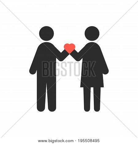 loving couple with heart in crossed hands. concept of relation, heterosexual, rendezvous, attitudes, happy couple. isolated on white background. flat style trend modern logo design vector illustration