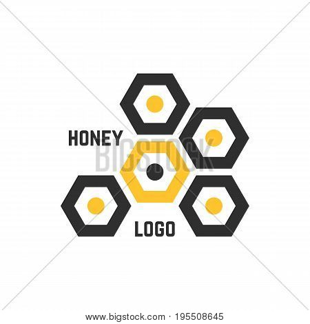simple honeycomb abstract logotype. concept of honeyed emblem, promotion, syrup, liquid sweetness, nectar. isolated on white background. flat style trend modern brand design vector illustration