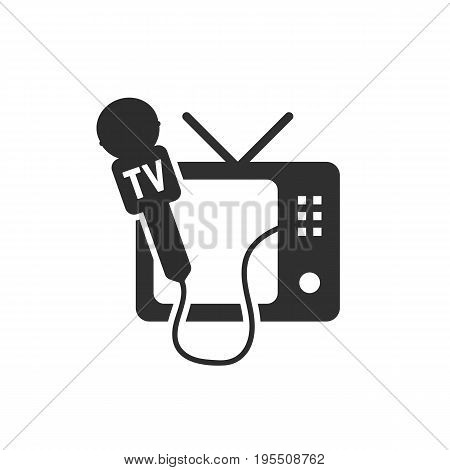 black tv and microphone icon. concept of global internet radio, newspaper interviewing, speaking, tv channels. isolated on white background. flat style trend modern logotype design vector illustration