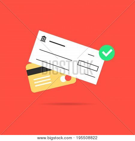 golden credit card with bank check. concept of banking transaction, profit, earnings, payment of bills, invest, wealth. isolated on red background. flat style trend modern design vector illustration