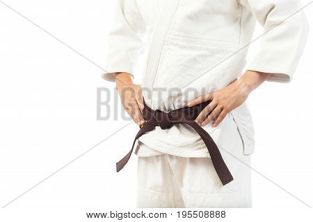 Close-up Of A Man  In A White Kimono For Judo