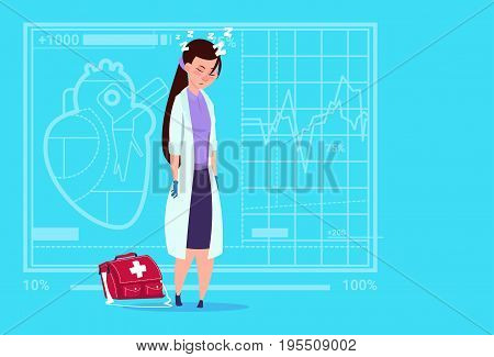 Female Doctor Tired Napping Medical Clinics Worker Hospital Flat Vector Illustration