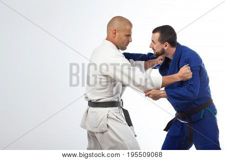 Two Men  Fight Judo