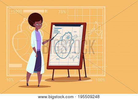 Female African American Doctor Cardiologist Over Flip Chart With Heart Medical Clinics Worker Hospital Flat Vector Illustration