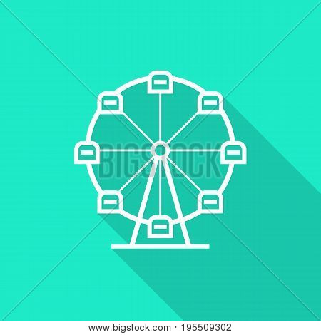 ferris wheel icon with long shadow. concept of amusement park, fun fair, fairground, leisure activity, swirl. isolated on green background. flat style trend modern logotype design vector illustration