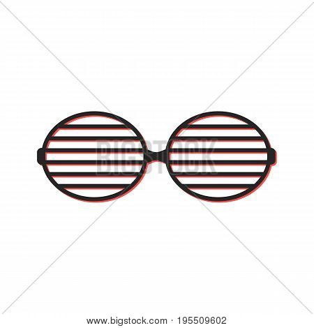 shutter sunglasses simple icon. concept of brindled or latticed sunglasses, fashionable accessory, youth glasses. isolated on white background. flat style trend modern logo design vector illustration