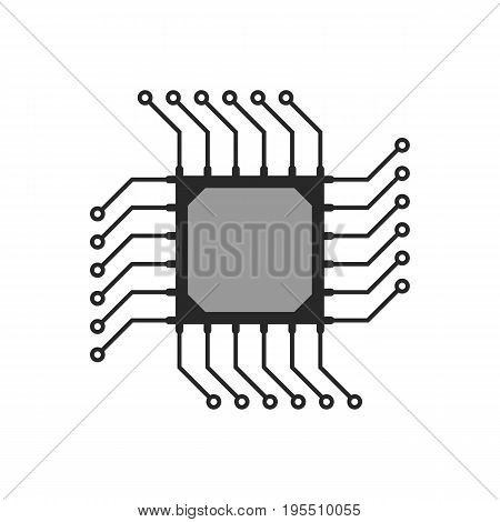 black abstract microchip circuit icon. concept of computing, technical equipment, chipset logic, circuitry. isolated on white background. flat style trend modern logo design vector illustration