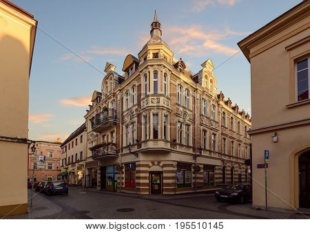 Vintage house on the street in old town of Gliwice Poland Europe.