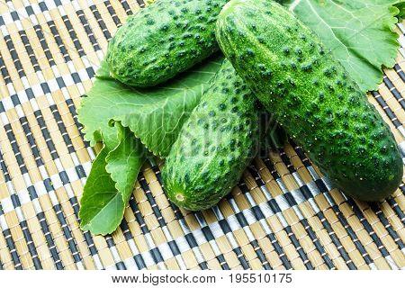 Fresh green cucumbers and horseradish on a bamboo napkin